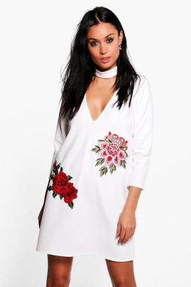 Embroidered Choker Shift Dress